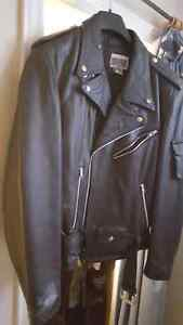 Black leather biker jacket not sure if it's ever been worn