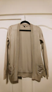 H&M Light Beige Knit Cardigan with Silk Back - Size S