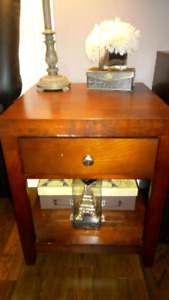 End table or night stand with drawer real wood