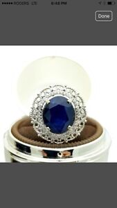 14K WHITE GOLD 4.7ct SAPPHIRE & DIAMOND RING APPRAISED $6900