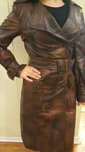 Long leather brown women's jacket London Ontario image 2