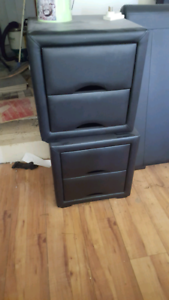 X2 black leather look bedside tables Ingle Farm Salisbury Area Preview