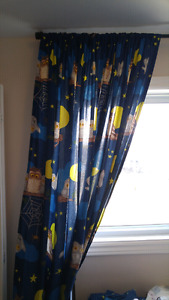 Single duvet cover with pillow case and curtains