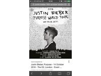 Justin Bieber Purpose World Tour 2x Tickets O2 Friday 14//10/16 18:30hrs