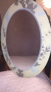 Large Oval Mirror with Floral Edge Etching