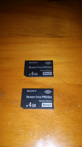 ProDuo Memory Cards and psp battery