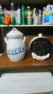 Two Oreo cookie jars