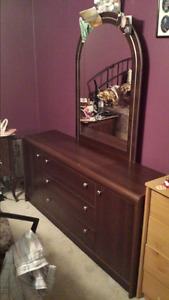 Dark brown dresser, mirror and matching end tables
