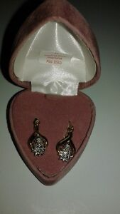 S.Silver Gold Plated Diamond Earrings