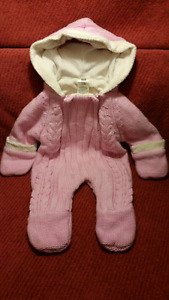 Faded Glory Baby Pink Sweater 1pc Hooded Pram Snow Suit,0-3mts