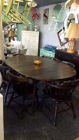 Rustic refinished hardwood dining set $645