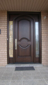 Solid mahogany door and side light