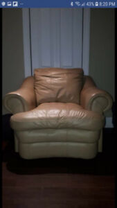 Leather Arm Chair (Beige)