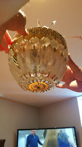 Flush-mount retro crystal luster chandelier!