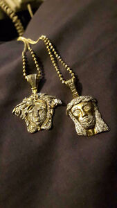 10kt Gold & Diamond encrusted pendents