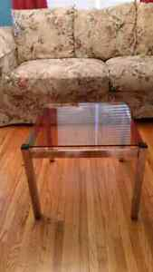 SET OF 2 VINTAGE CHROME AND SMOKED GLASS END TABLES