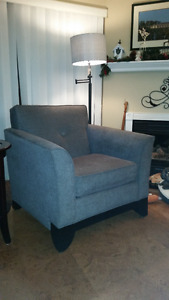 Grey Sofa & Chair For Sale