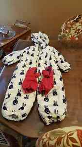 One piece snow suit from Next in UK and Kombi gloves !!