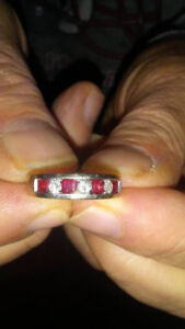 Ladies 14K White Gold Ring with Rubies and Diamonds