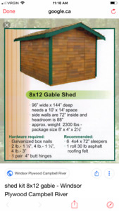 8x12 Cedar Gable Shed Kit