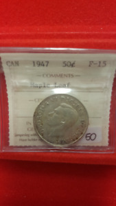 1947 Canadian 50c ICCS Graded  F15 Silver Coin