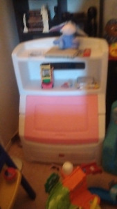 Pink toy box amd book shelve
