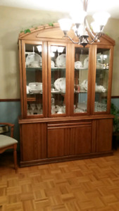 Oak dinning room table and China cabinet