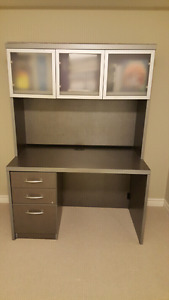 Slate grey desk with hutch