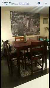 Solid wood table with 4 chairs Strathcona County Edmonton Area image 1