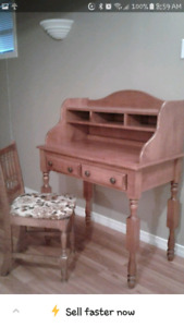 SOLD WOOD DESK AND CHAIR