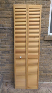 Full-louvered Unfinished Solid Core Pine Bi-fold Door