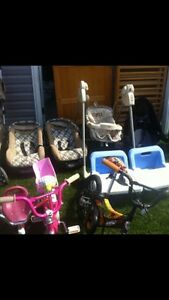 Kids strollers, bikes , cribs , and high chair