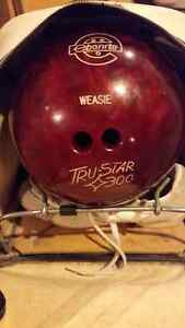 Women's Bowling Ball with Shoes and Vintage Bag