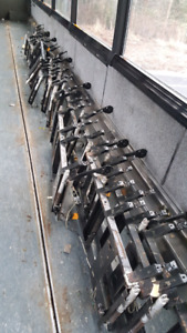 Motor coach seat frames and seats.