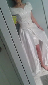 Wedding dress - short with train attachment