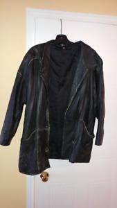 Manteau en cuir noir mi-long femme grandeur 42