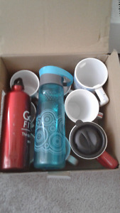 Box of Coffee Mugs And Two Water Bottles