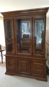 Solid, Wood antique Dining Hutch/China Cabinet, made in USA!!