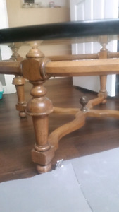 Strong wooden glass table $30 obo