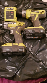 RYOBI ONE + 18V HAMMER DRILL & IMPACT DRIVER & 2 BATTERIES + CHARGER