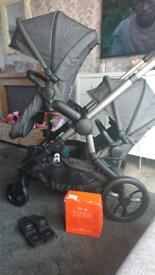 Icandy orange double pram pushchair