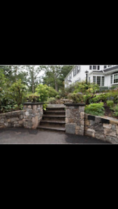 Stone mason, retaining wall, chimney, landscaping, restoration