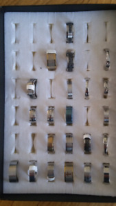 Lot of 22 stainless steel rings all new in box