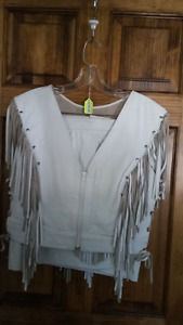 Custom made White Leather Fringed Outfit