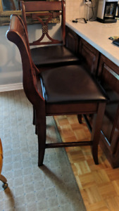 2 High Chair Bar Stools Wood and Leather