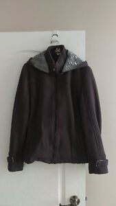 NEW Men's Chic Grey Fleece Jacket w Hood Medium YKK $40