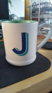 "Initial ""J"" Coffee Mug 15 oz by Indigo White/Green/Blue NEW"