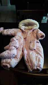 Girls Osh Kosh 1 piece snowsuit with mittens and booties