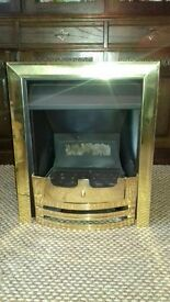 Beautiful brass surround gas fire, immaculate condition