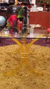 Vintage Yellow Lucite Coffee Table with Glass Top London Ontario image 2